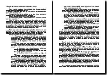 Les règles de droit des conditions de validité d'un contrat