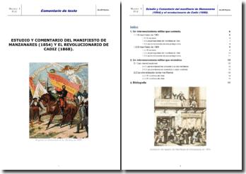 Estudio y comenterio des Manifiesto de Manzanares (1854) y el Revolucionario de Cadiz (1868)