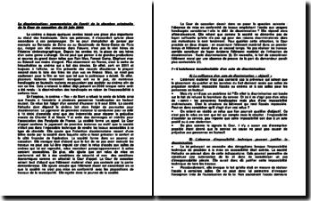 La discrimination: commentaire de l'arrêt de la chambre criminelle de la Cour de cassation du 20 juin 2006