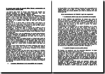 Le recours pour excès de pouvoir (Mme Borvo), commentaire de l'arrêt du CE, 11 février 2010