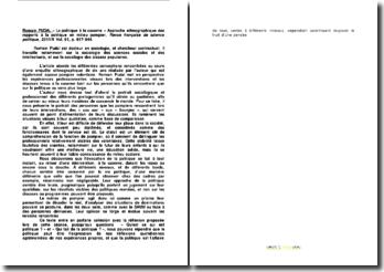 Romain PUDAL: « La politique à la caserne », approche ethnographique des rapports à la politique en milieu pompier