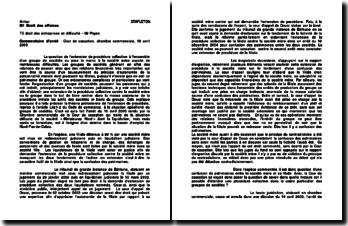 Commentaire d'arrêt de la Chambre commerciale de la Cour de cassation du 19 avril 2005 : les entreprises en difficulté
