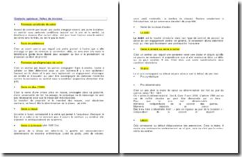 Contrats spéciaux: fiches de révision
