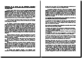 L'influence de la morale sur les obligations naturelles, commentaire d'arrêt, 1ère chambre civile de la Cour de Cassation, 10 octobre 1995