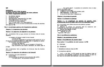 Le domaine du cours: les juridictions de l'ordre judiciaire
