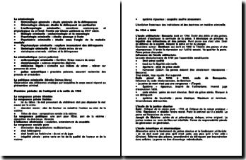 La criminologie - politique criminelle, éléments sch.matiques de procédure, grands principes du droit pénal