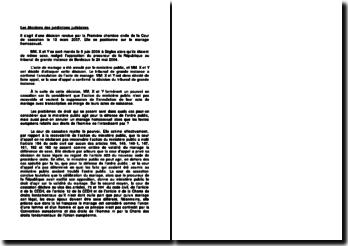 Le mariage homosexuel, décision rendue par la Première chambre civile de la Cour de cassation, 13 mars 2007