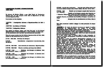 Fiche de lecture sur un mémoire intitulé L'immigration italienne à Bagnols-sur-Cèze