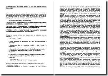 Fiche de lecture sur un mémoire intitulé L'immigration italienne dans le sud-est de la France 1900-1950