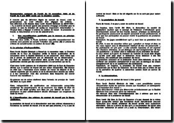 Contrat de travail, commentaire comparé des arrêts du 13 novembre 1996 et du 3 juin 2009 rendu par la chambre sociale