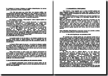 La méthode du faisceau d'indices en matière d'identification du service public, commentaire d'arrêt, 5 octobre 2007