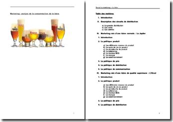 Marketing: analyse de la consommation de la bière