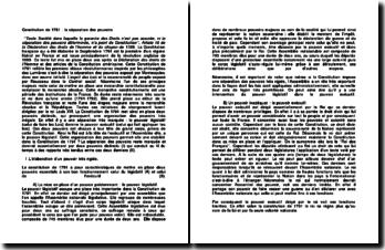 Constitution de 1791 : la séparation des pouvoirs