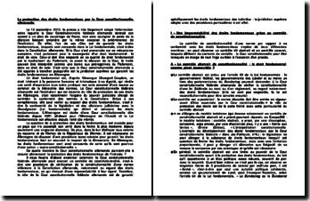 La protection des droits fondamentaux par la Cour constitutionnelle allemande