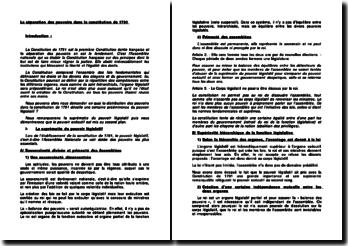 La séparation des pouvoirs dans la Constitution de 1791