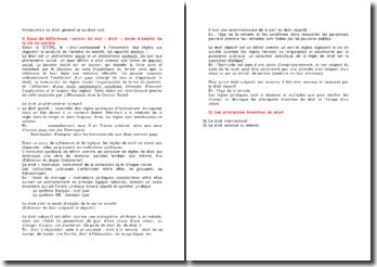 Introduction au droit général et au droit civil