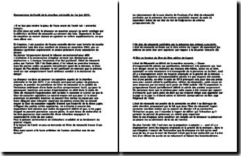 Commentaire de l'arrêt de la Chambre criminelle de la Cour de cassation du 1 juin 2010