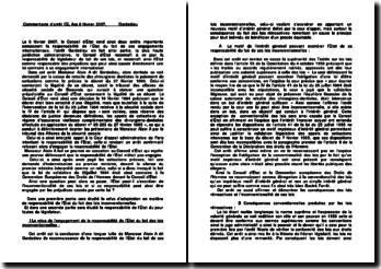 Commentaire de l'arrêt du Conseil d'Etat rendu le 8 février 2007 : la responsabilité de l'État du fait de ses engagements internationaux