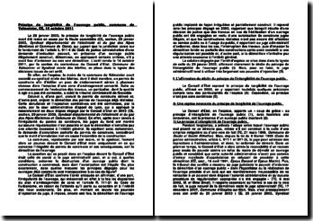 Principe de tangibilité de l'ouvrage public, commune de Valmeinier, commentaire d'arrêt par la section du contentieux du Conseil d'Etat, 14 octobre 2011