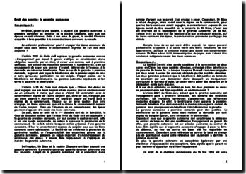 Droit des suretés: la garantie autonome