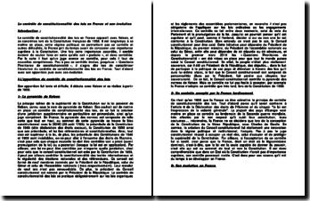Le contrôle de constitutionnalité des lois en France et son évolution