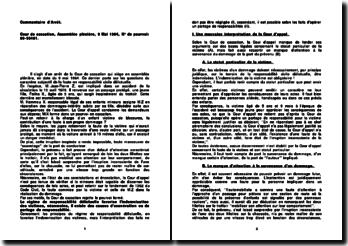 Commentaire d'arrêt de la Cour de cassation de l'Assemblée plénière du 9 mai 1984 : la faute en responsabilité civile délictuelle
