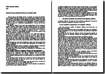 Commentaire d'arrêt de la Cour d'appel de Paris en date du 12 octobre 1999 : la légitime défense