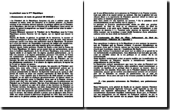Le président sous la Vème République: commentaire de texte du général DE GAULLE