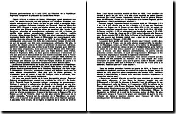 Discours parlementaires du 4 août 1914, du Président de la République Raymond Poincaré et du président du Conseil René Viviani