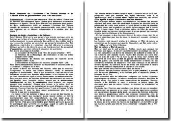 Étude comparée du : « Léviathan » de Thomas Hobbes et du « second traité du gouvernement civil » de John Locke