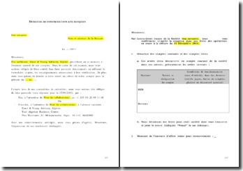 Un modèle de lettre de demande de confirmation aux banques en vue d'une vérification de comptes