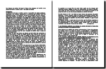 Les clauses du contrat de travail à l'aune des principes de finalité et de proportionnalité (v. article L1121-1 du Code du travail)