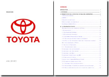 Présentation de la situation actuelle et de la stratégie de Toyota
