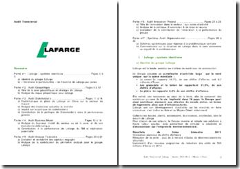 Audit Transversal groupe Lafarge