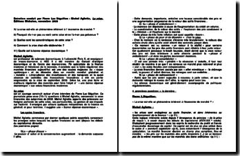 Entretien conduit par Pierre Luc Séguillon : Michel Aglietta, La crise, Editions Michalon, novembre 2008