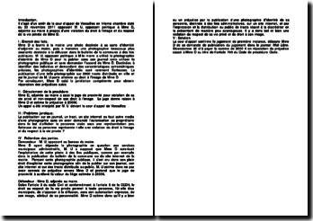 Violation du droit à l'image, commentaire d'arrêt de la Cour d'appel de Versailles, 14ème chambre, du 30 novembre 2011