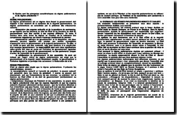 Quelles sont les principales caractéristiques du régime parlementaire et du régime présidentiel ?