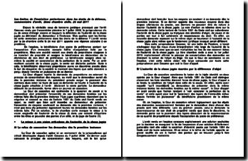 Les limites de l'immixtion prétorienne dans les droits de la défense, commentaire d'arrêt, 2ème chambre civile, 26 mai 2011