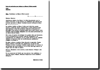 exemple lettre de motivation master 2 droit notarial