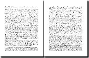 Etude Diderot, Rousseau : devoir sur la justice, sa naissance, ses conséquences