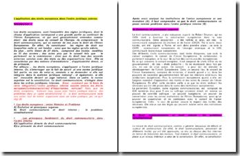 L'application des droits européens dans l'ordre juridique interne