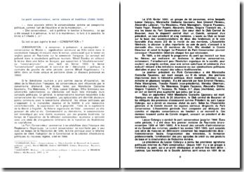 Le parti conservateur, entre valeurs et tradition (1880-1938)