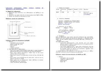 Laboratoire renforcement chimie: chaleurs molaires de dissolution et de neutralisation