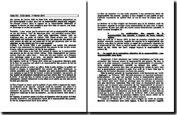 La responsabilité personnelle engagée, Cass. Civ., C.Civ 2ème, 17 février 2011