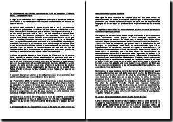 La transmission des clauses contractuelles, Cour de cassation, Chambre civile, 17 septembre 2008