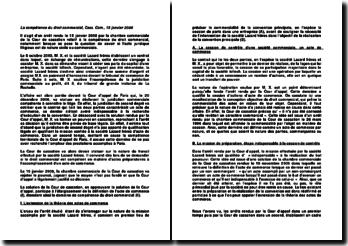 La compétence du droit commercial, Cass. Com., 15 janvier 2008