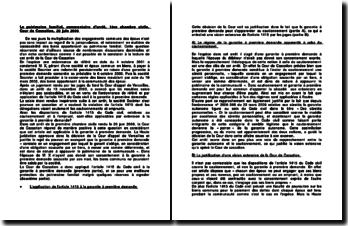 Le patrimoine familial, commentaire d'arrêt, 1ère chambre civile, Cour de Cassation, 20 juin 2006