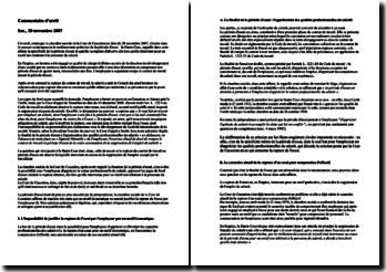 Le renfoncement prétorien de la période d'essai, commentaire d'arrêt, chambre sociale, Cour de cassation, 20 novembre 2007