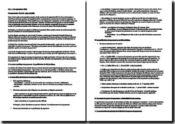 Le payement est un fait juridique, Cour de cassation, première chambre civile, 16 septembre 2010