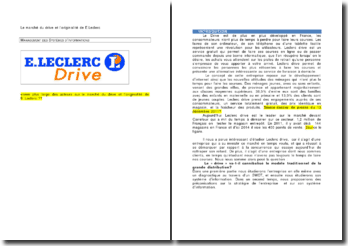 Le marché du drive et l'originalité de E.Leclerc